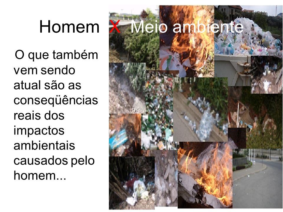 Homem X Meio ambiente O que também vem sendo atual são as conseqüências reais dos impactos ambientais causados pelo homem...