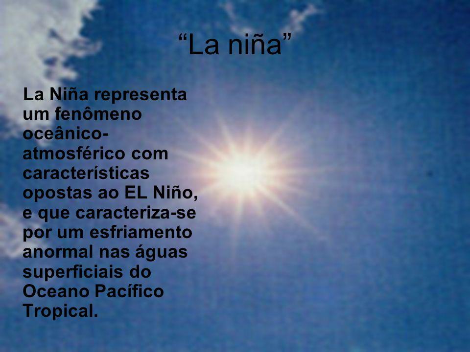 La niña La Niña representa um fenômeno oceânico- atmosférico com características opostas ao EL Niño, e que caracteriza-se por um esfriamento anormal n