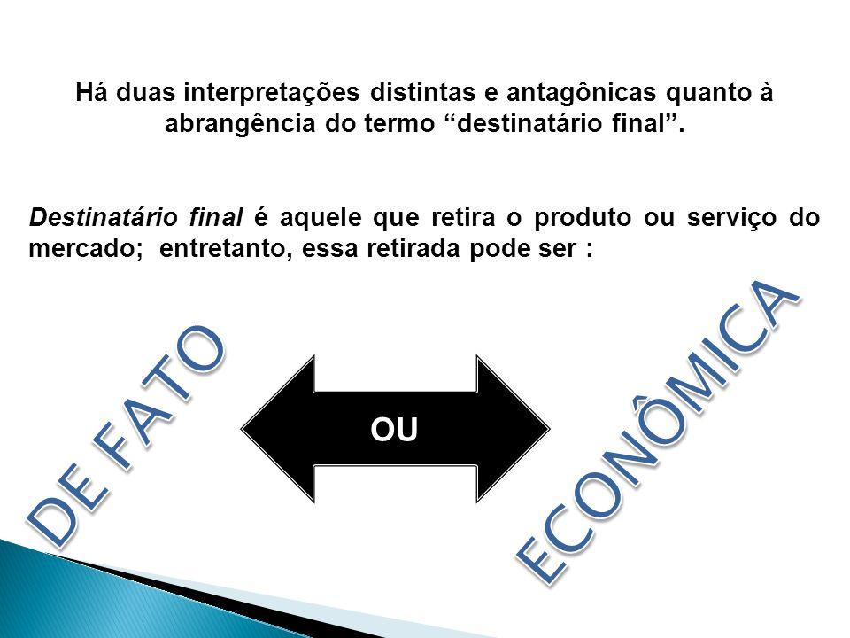 FINALISTAS Consumidor é o destinatário final fático e o destinatário final econômico.