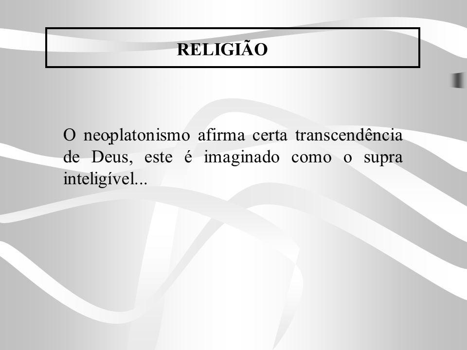 O neoplatonismo afirma certa transcendência de Deus, este é imaginado como o supra inteligível... : RELIGIÃO