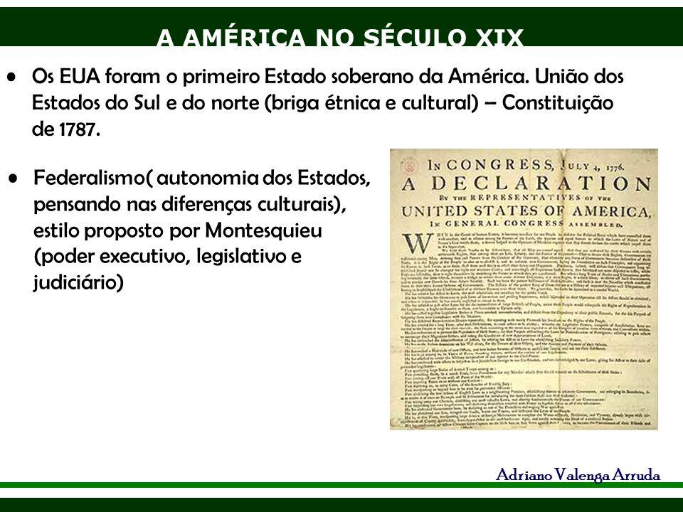 A AMÉRICA NO SÉCULO XIX Adriano Valenga Arruda Federalismo( autonomia dos Estados, pensando nas diferenças culturais), estilo proposto por Montesquieu