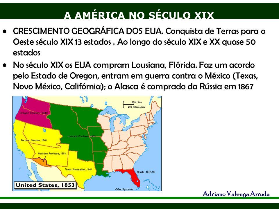A AMÉRICA NO SÉCULO XIX Adriano Valenga Arruda CRESCIMENTO GEOGRÁFICA DOS EUA. Conquista de Terras para o Oeste século XIX 13 estados. Ao longo do séc
