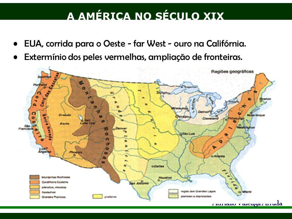 A AMÉRICA NO SÉCULO XIX Adriano Valenga Arruda EUA, corrida para o Oeste - far West - ouro na Califórnia. Extermínio dos peles vermelhas, ampliação de