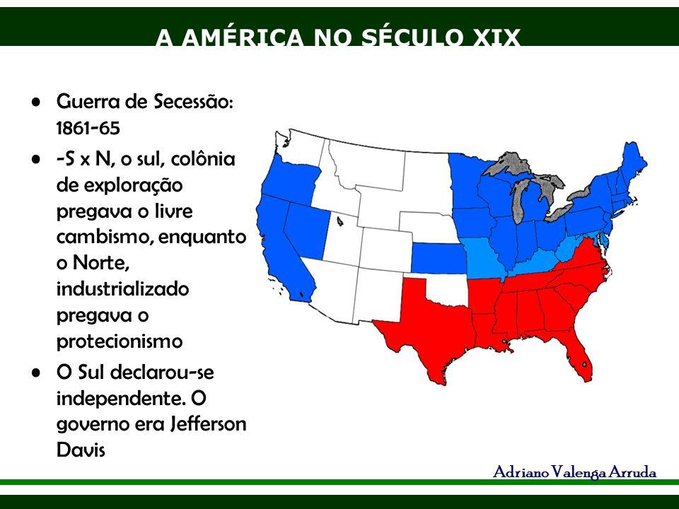 A AMÉRICA NO SÉCULO XIX Adriano Valenga Arruda Guerra de Secessão: 1861-65 -S x N, o sul, colônia de exploração pregava o livre cambismo, enquanto o N