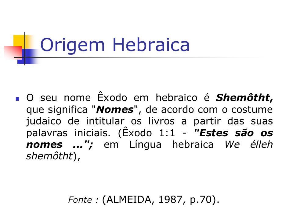Origem Hebraica O seu nome Êxodo em hebraico é Shemôtht, que significa