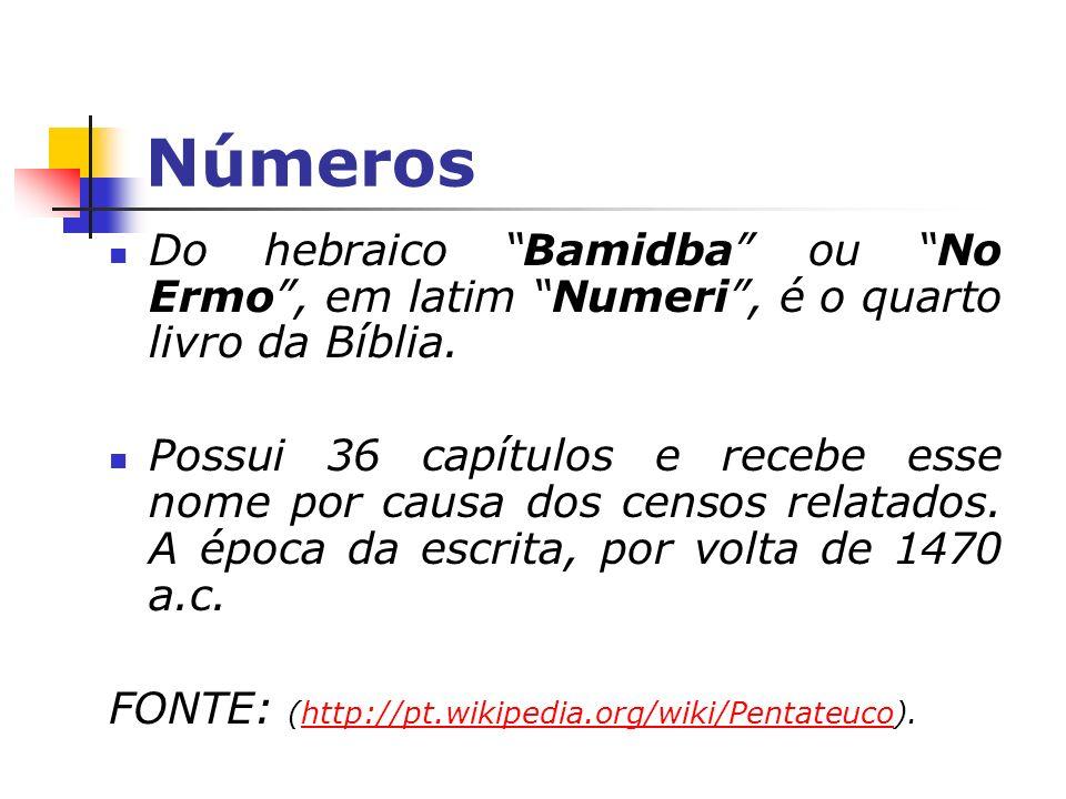 Números Do hebraico Bamidba ou No Ermo, em latim Numeri, é o quarto livro da Bíblia. Possui 36 capítulos e recebe esse nome por causa dos censos relat