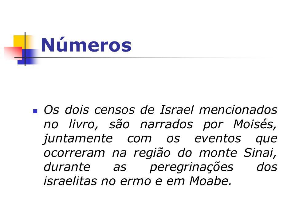 Números Os dois censos de Israel mencionados no livro, são narrados por Moisés, juntamente com os eventos que ocorreram na região do monte Sinai, dura