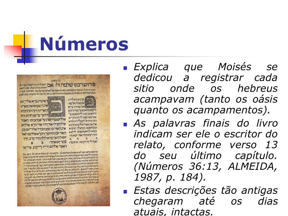 Números Explica que Moisés se dedicou a registrar cada sitio onde os hebreus acampavam (tanto os oásis quanto os acampamentos). As palavras finais do