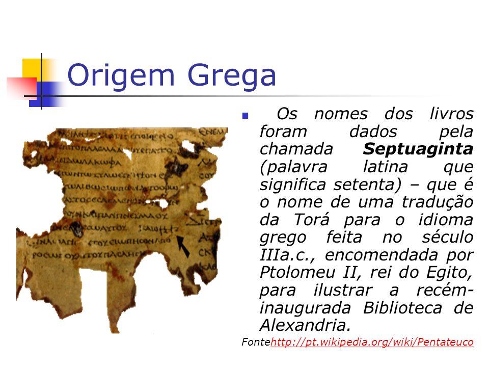 Origem Grega Os nomes dos livros foram dados pela chamada Septuaginta (palavra latina que significa setenta) – que é o nome de uma tradução da Torá pa