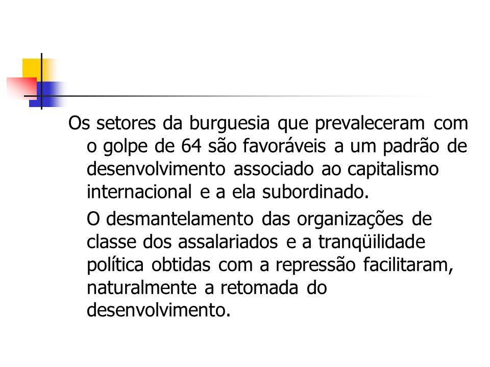 Os setores da burguesia que prevaleceram com o golpe de 64 são favoráveis a um padrão de desenvolvimento associado ao capitalismo internacional e a el