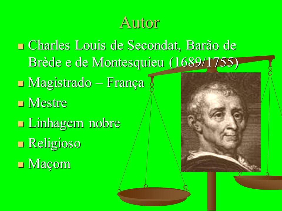 Autor Charles Louis de Secondat, Barão de Brède e de Montesquieu (1689/1755) Charles Louis de Secondat, Barão de Brède e de Montesquieu (1689/1755) Ma
