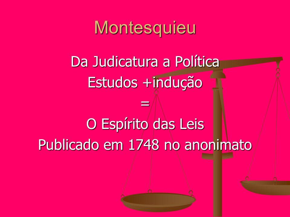 Montesquieu Da Judicatura a Política Estudos +indução = O Espírito das Leis Publicado em 1748 no anonimato