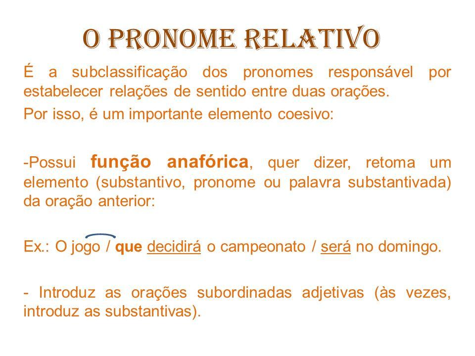 O PRONOME RELATIVO São pronomes relativos: que: é uma espécie de coringa, pois pode ser usado em quase todas as situações.