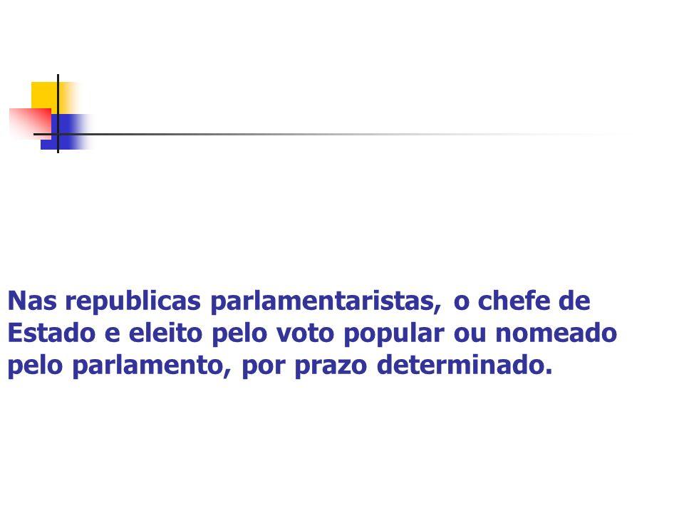 Nas republicas parlamentaristas, o chefe de Estado e eleito pelo voto popular ou nomeado pelo parlamento, por prazo determinado.