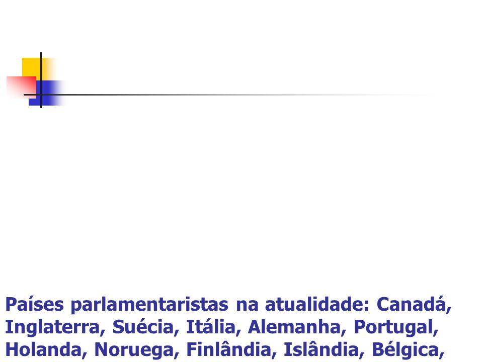 Países parlamentaristas na atualidade: Canadá, Inglaterra, Suécia, Itália, Alemanha, Portugal, Holanda, Noruega, Finlândia, Islândia, Bélgica,