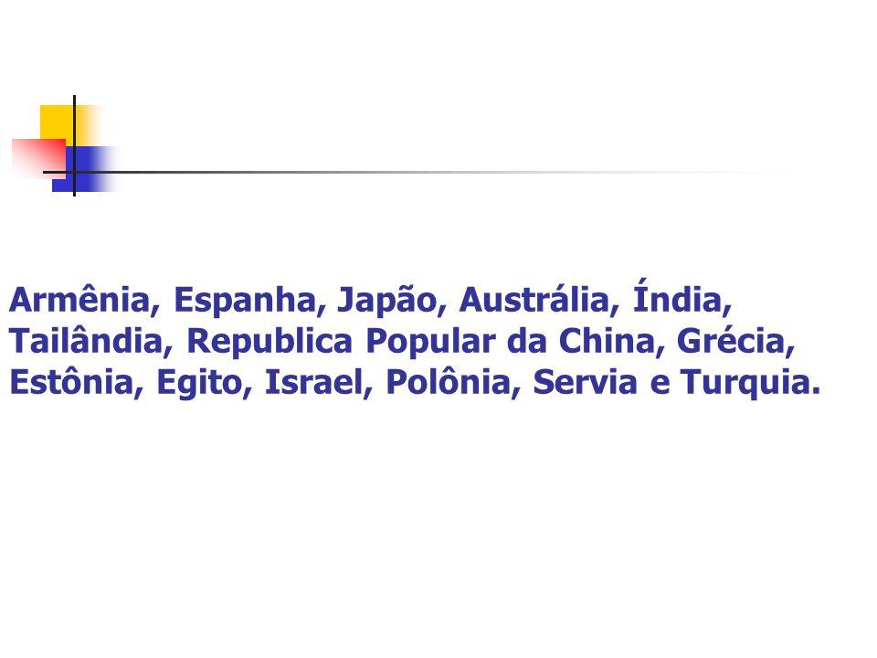Armênia, Espanha, Japão, Austrália, Índia, Tailândia, Republica Popular da China, Grécia, Estônia, Egito, Israel, Polônia, Servia e Turquia.
