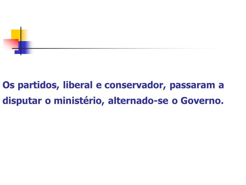 Os partidos, liberal e conservador, passaram a disputar o ministério, alternado-se o Governo.
