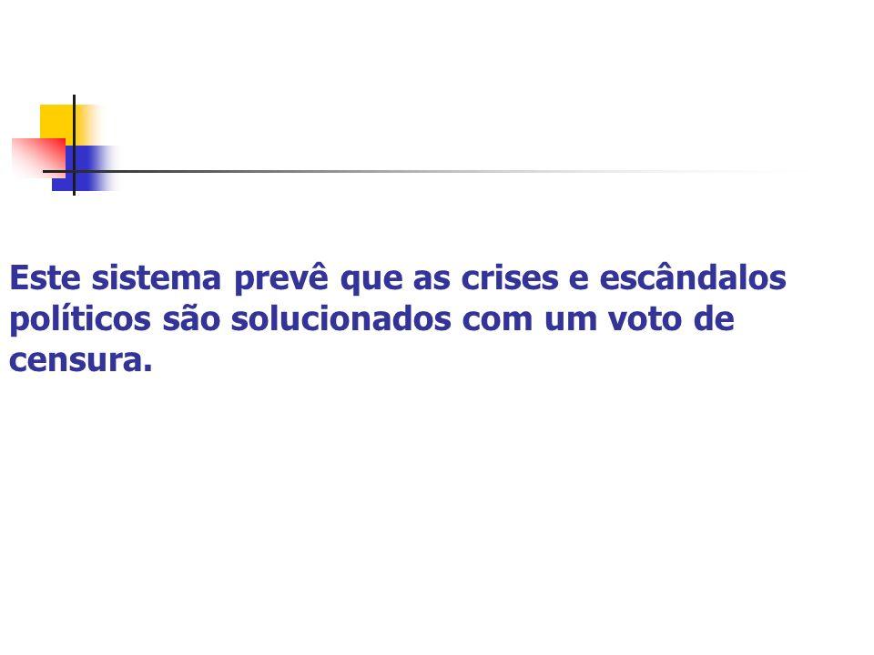 Este sistema prevê que as crises e escândalos políticos são solucionados com um voto de censura.
