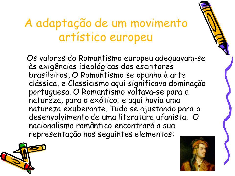 A adaptação de um movimento artístico europeu Os valores do Romantismo europeu adequavam-se às exigências ideológicas dos escritores brasileiros, O Ro