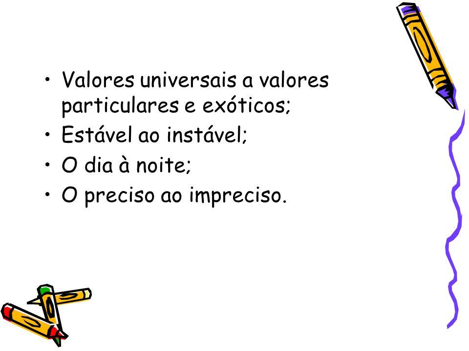 Valores universais a valores particulares e exóticos; Estável ao instável; O dia à noite; O preciso ao impreciso.