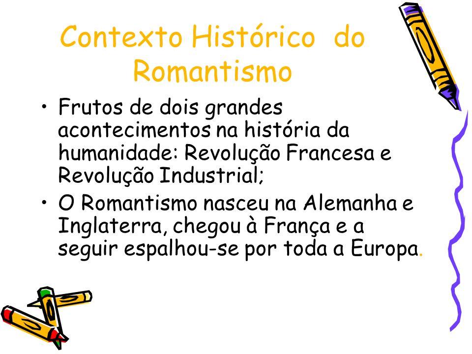 Contexto Histórico do Romantismo Frutos de dois grandes acontecimentos na história da humanidade: Revolução Francesa e Revolução Industrial; O Romanti