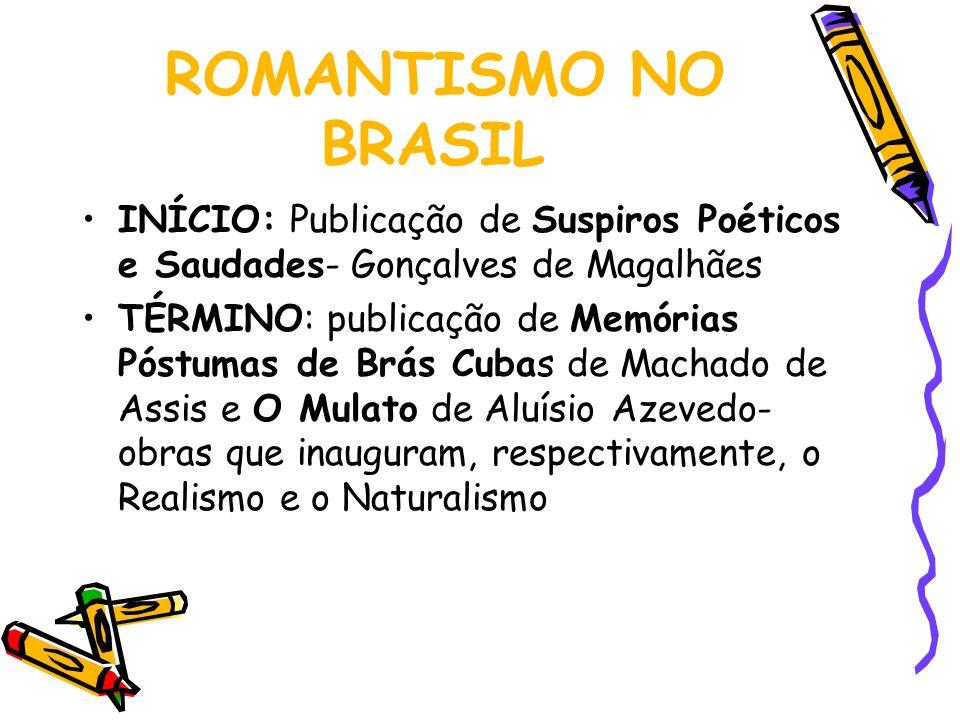 ROMANTISMO NO BRASIL INÍCIO: Publicação de Suspiros Poéticos e Saudades- Gonçalves de Magalhães TÉRMINO: publicação de Memórias Póstumas de Brás Cubas