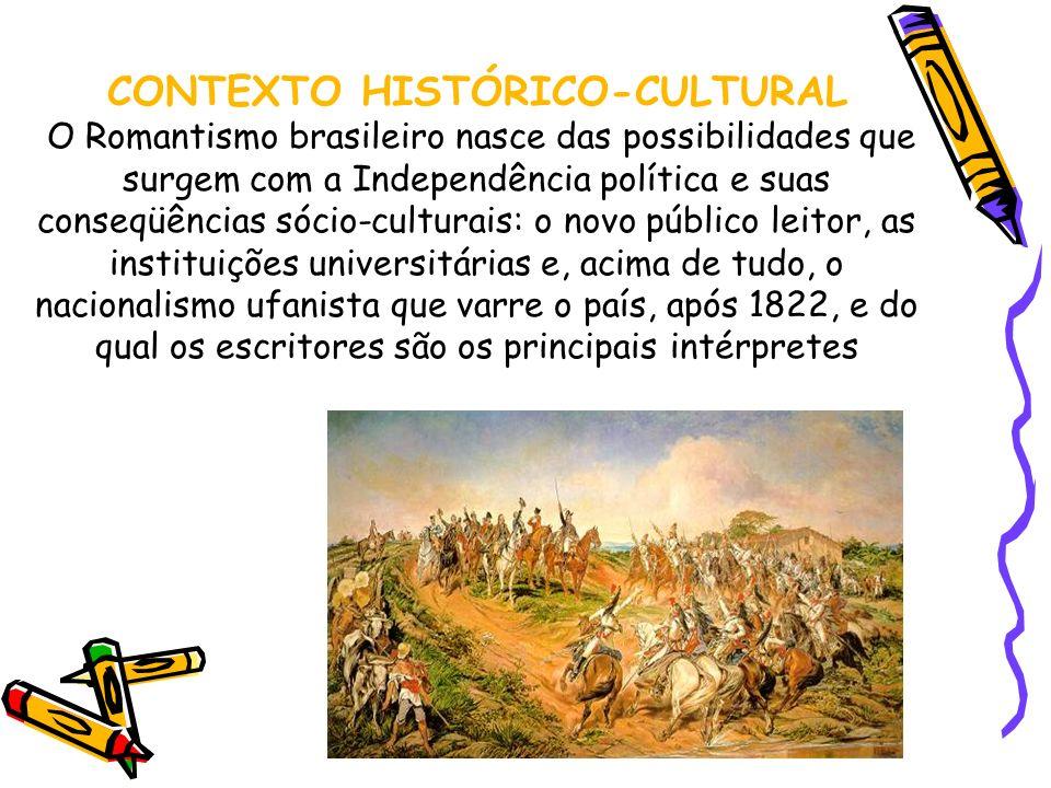 CONTEXTO HISTÓRICO-CULTURAL O Romantismo brasileiro nasce das possibilidades que surgem com a Independência política e suas conseqüências sócio-cultur