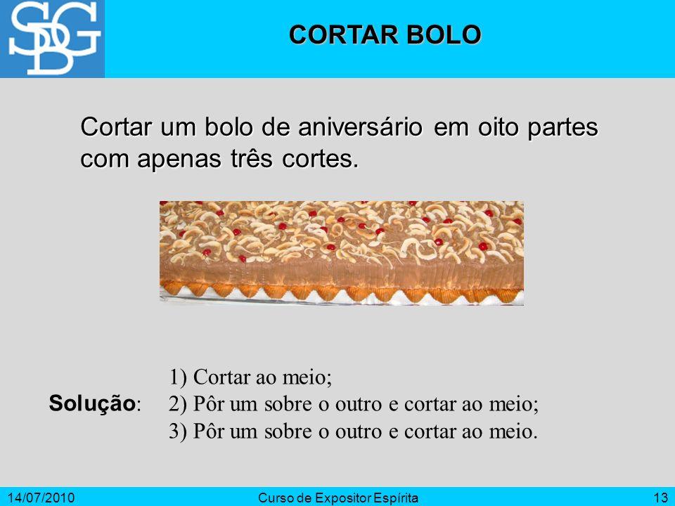 14/07/2010Curso de Expositor Espírita13 CORTAR BOLO Cortar um bolo de aniversário em oito partes com apenas três cortes. Solução : 1) Cortar ao meio;