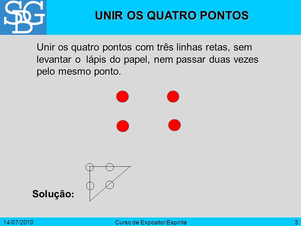 14/07/2010Curso de Expositor Espírita3 Unir os quatro pontos com três linhas retas, sem levantar o lápis do papel, nem passar duas vezes pelo mesmo po