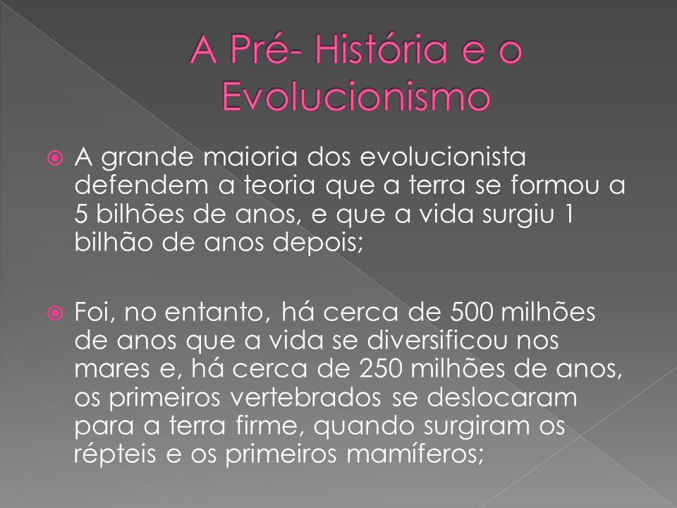 A grande maioria dos evolucionista defendem a teoria que a terra se formou a 5 bilhões de anos, e que a vida surgiu 1 bilhão de anos depois; Foi, no e