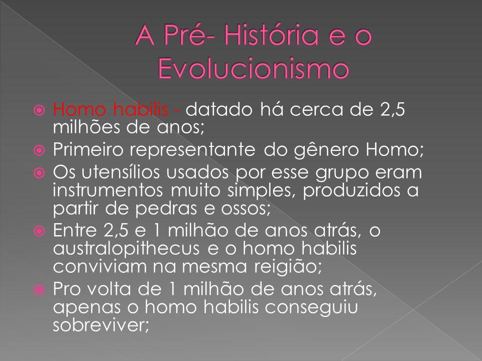 Homo habilis - datado há cerca de 2,5 milhões de anos; Primeiro representante do gênero Homo; Os utensílios usados por esse grupo eram instrumentos mu