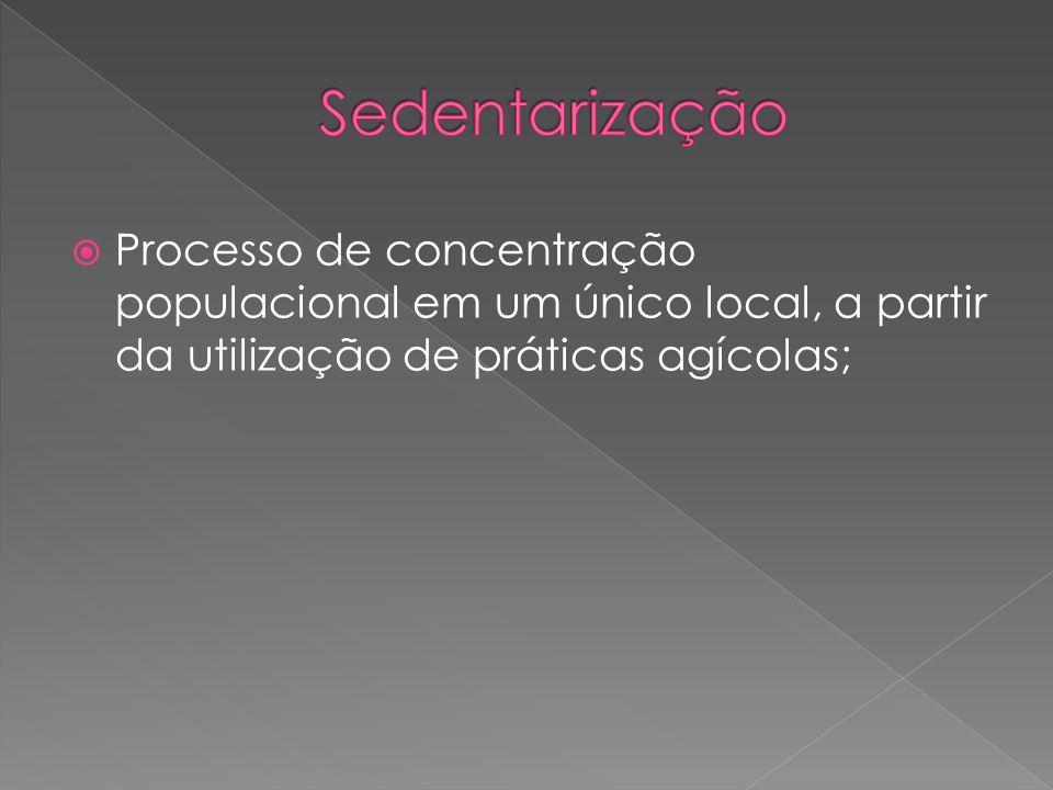 Processo de concentração populacional em um único local, a partir da utilização de práticas agícolas;