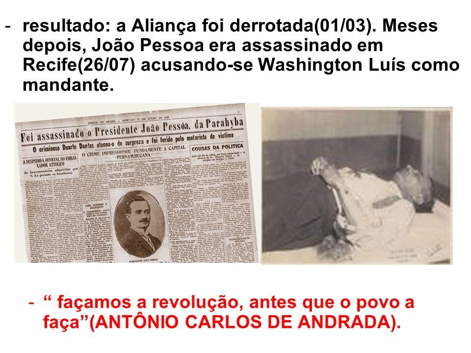 -resultado: a Aliança foi derrotada(01/03). Meses depois, João Pessoa era assassinado em Recife(26/07) acusando-se Washington Luís como mandante. - fa