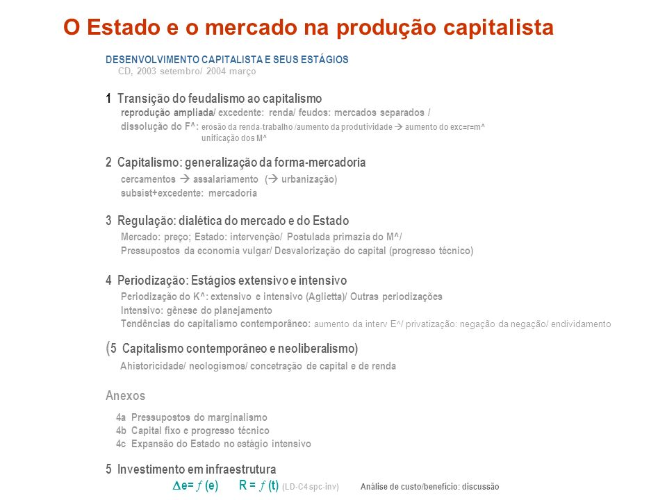 DESENVOLVIMENTO CAPITALISTA E SEUS ESTÁGIOS CD, 2003 setembro/ 2004 março 1 Transição do feudalismo ao capitalismo reprodução ampliada/ excedente: ren