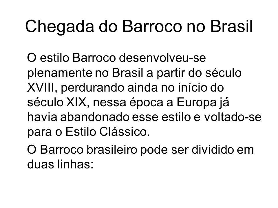 Chegada do Barroco no Brasil O estilo Barroco desenvolveu-se plenamente no Brasil a partir do século XVIII, perdurando ainda no início do século XIX,