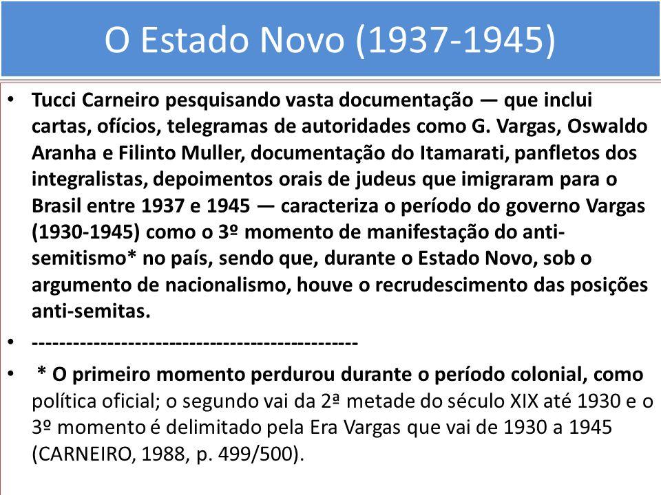 O Estado Novo (1937-1945) Tucci Carneiro pesquisando vasta documentação que inclui cartas, ofícios, telegramas de autoridades como G. Vargas, Oswaldo