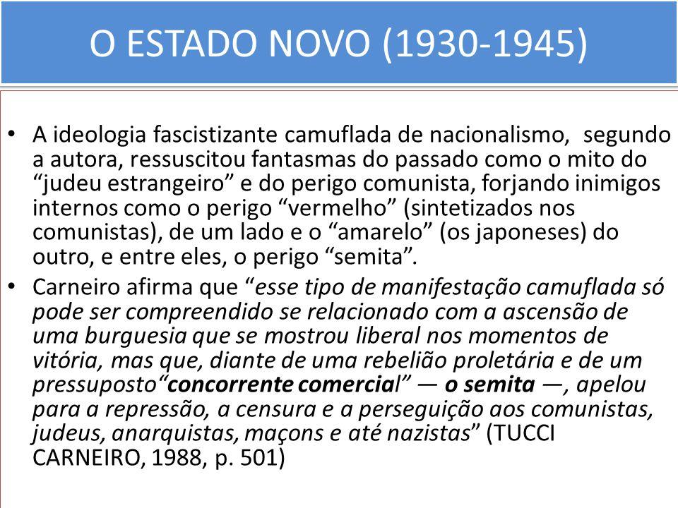 O ESTADO NOVO (1930-1945) A ideologia fascistizante camuflada de nacionalismo, segundo a autora, ressuscitou fantasmas do passado como o mito do judeu