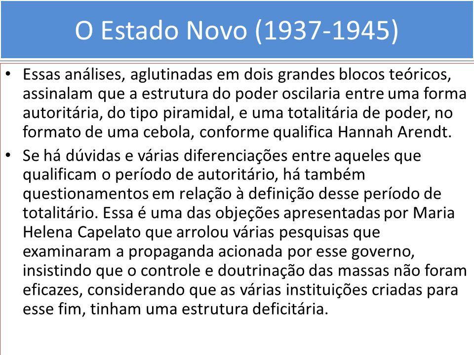 O Estado Novo (1937-1945) Essas análises, aglutinadas em dois grandes blocos teóricos, assinalam que a estrutura do poder oscilaria entre uma forma au
