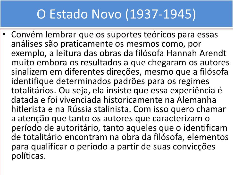 O Estado Novo (1937-1945) Convém lembrar que os suportes teóricos para essas análises são praticamente os mesmos como, por exemplo, a leitura das obra