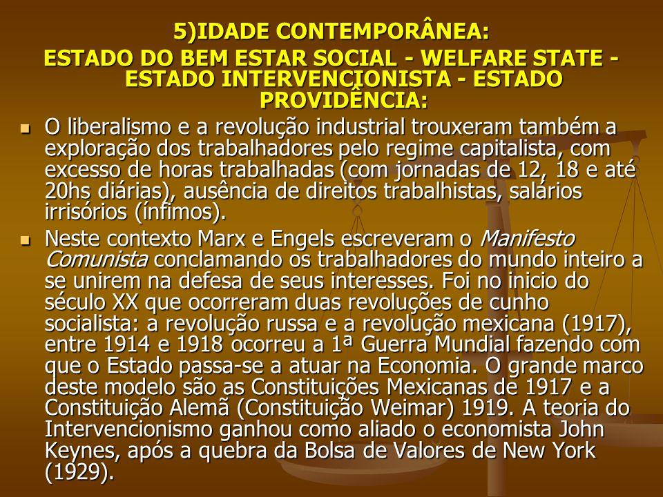 5)IDADE CONTEMPORÂNEA: ESTADO DO BEM ESTAR SOCIAL - WELFARE STATE - ESTADO INTERVENCIONISTA - ESTADO PROVIDÊNCIA: O liberalismo e a revolução industri