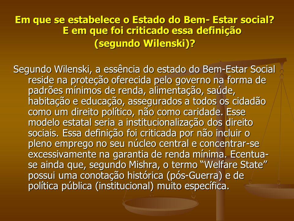 Em que se estabelece o Estado do Bem- Estar social? E em que foi criticado essa definição (segundo Wilenski)? Segundo Wilenski, a essência do estado d