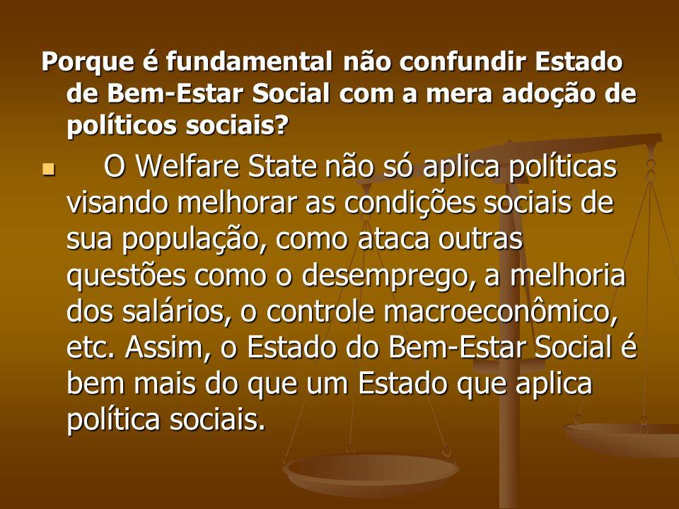 Porque é fundamental não confundir Estado de Bem-Estar Social com a mera adoção de políticos sociais? O Welfare State não só aplica políticas visando