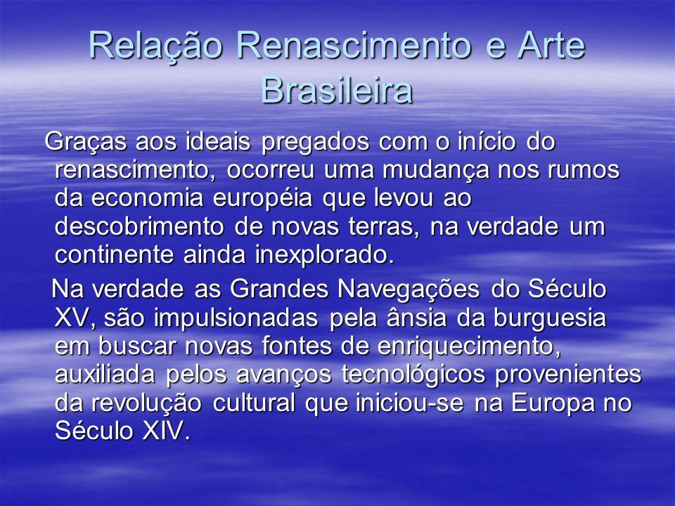 Relação Renascimento e Arte Brasileira Graças aos ideais pregados com o início do renascimento, ocorreu uma mudança nos rumos da economia européia que