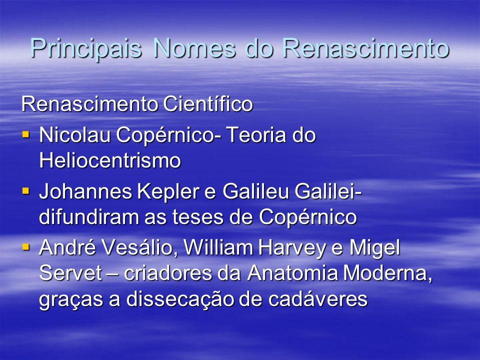 Principais Nomes do Renascimento Renascimento Científico Nicolau Copérnico- Teoria do Heliocentrismo Nicolau Copérnico- Teoria do Heliocentrismo Johan