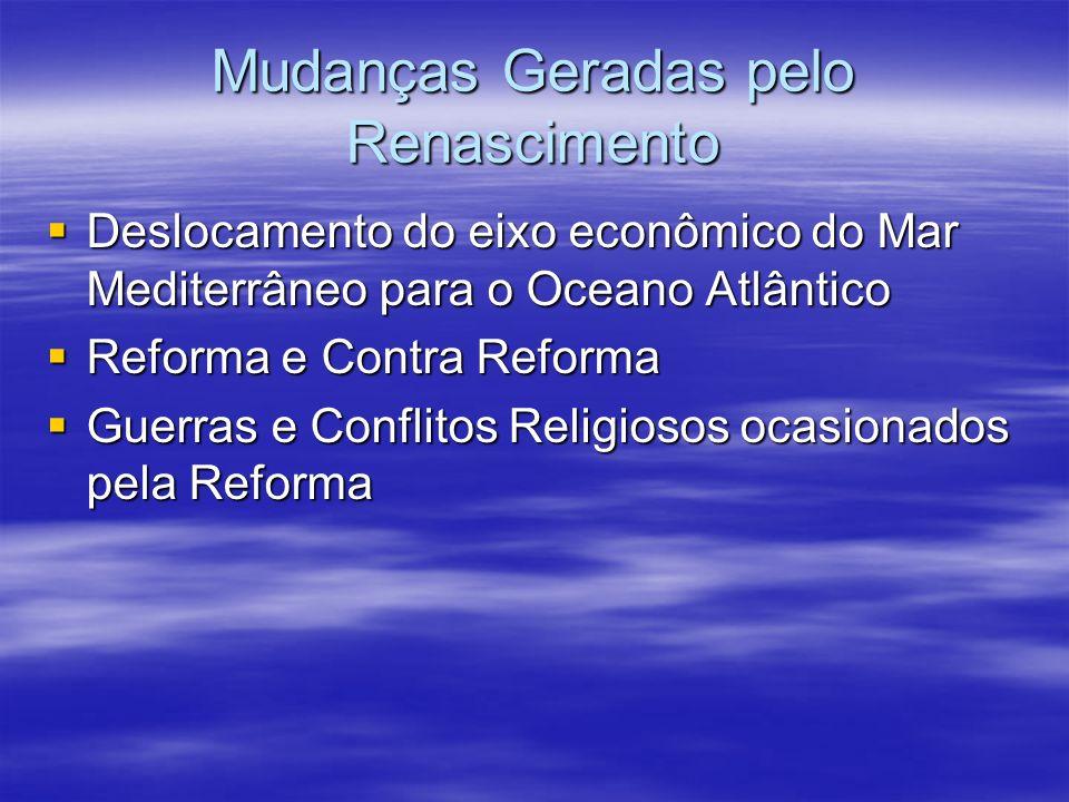 Mudanças Geradas pelo Renascimento Deslocamento do eixo econômico do Mar Mediterrâneo para o Oceano Atlântico Deslocamento do eixo econômico do Mar Me