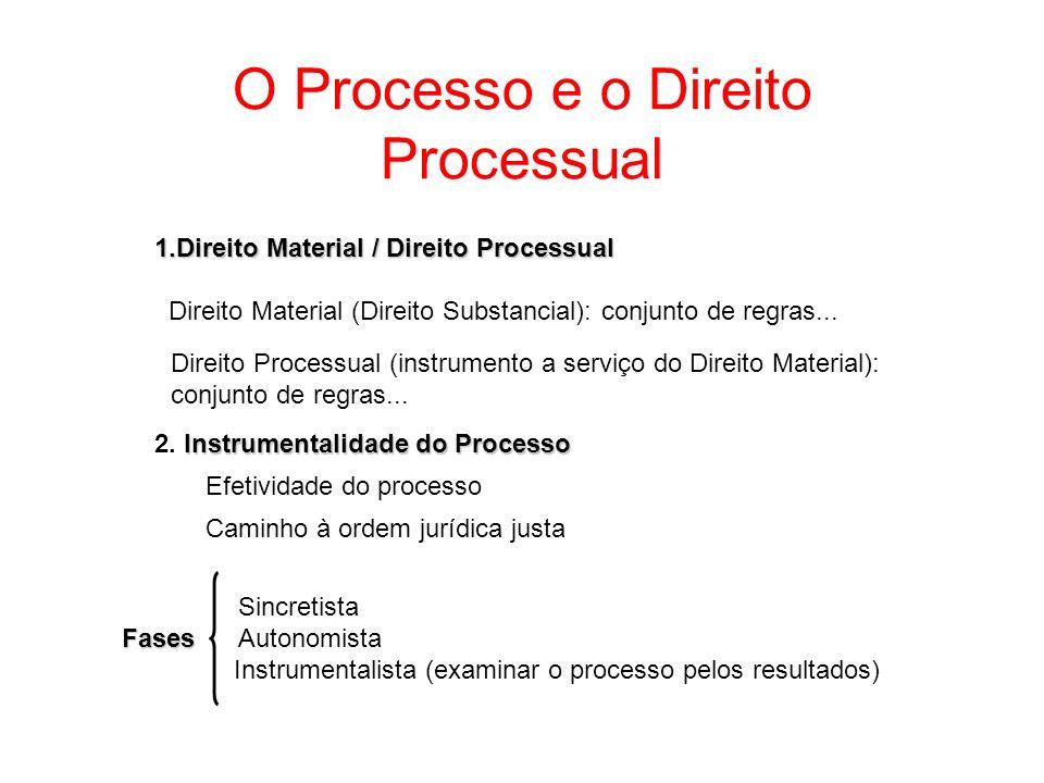 O Processo e o Direito Processual 1.Direito Material / Direito Processual Direito Material (Direito Substancial): conjunto de regras... Instrumentalid