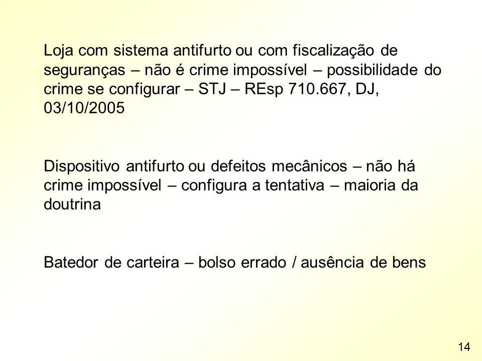 Loja com sistema antifurto ou com fiscalização de seguranças – não é crime impossível – possibilidade do crime se configurar – STJ – REsp 710.667, DJ,