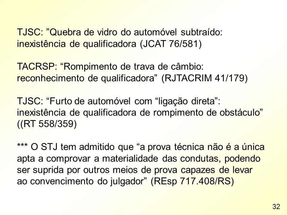 TJSC: Quebra de vidro do automóvel subtraído: inexistência de qualificadora (JCAT 76/581) TACRSP: Rompimento de trava de câmbio: reconhecimento de qua