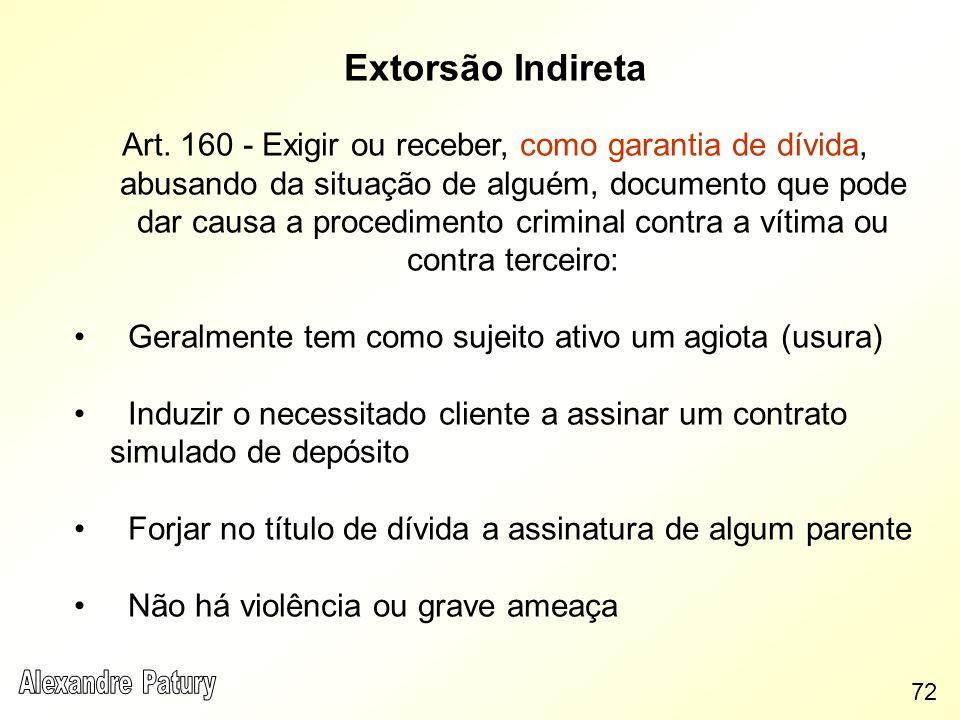 Extorsão Indireta Art. 160 - Exigir ou receber, como garantia de dívida, abusando da situação de alguém, documento que pode dar causa a procedimento c