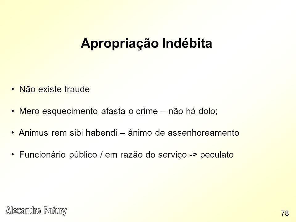 Apropriação Indébita Não existe fraude Mero esquecimento afasta o crime – não há dolo; Animus rem sibi habendi – ânimo de assenhoreamento Funcionário